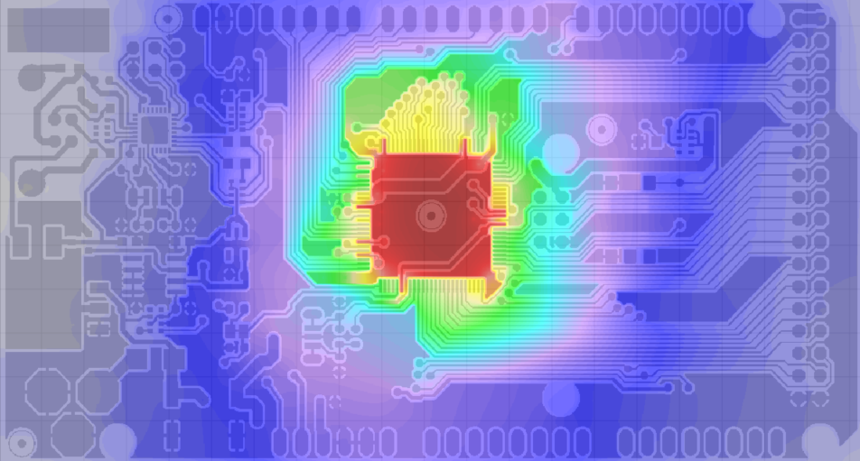Simulated thermal image of top Layer of Arduino Board